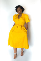 "BUTTON-DOWN ""MILLY"" DRESS WITH PUFF SLEEVES"