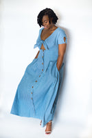 """JAZZY"" DENIM STRIPED TIE FRONT DRESS"
