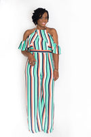 "MULTI STRIPE ""KYLIE"" HALTER NECK JUMPSUIT"