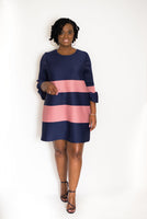 "PLEATED ""LOLA"" STRIPED DRESS"
