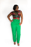 "PAPER BAG ""KATIE"" PANTS WITH BUTTONED WAIST"