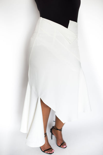 "HIGH WAISTED ""TONYA"" FOLD OVER MIDI SKIRT"