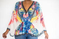 """SALLY"" DRAPED V-NECK TOP WITH KIMONO SLEEVES"