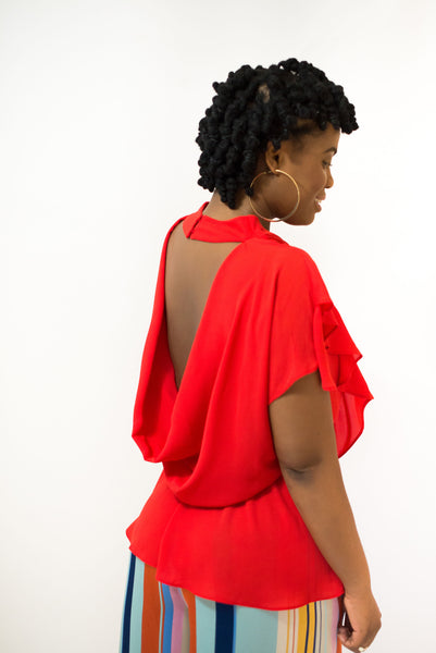 "OPEN BACK ""LIZZY"" FLIRTY BLOUSE"