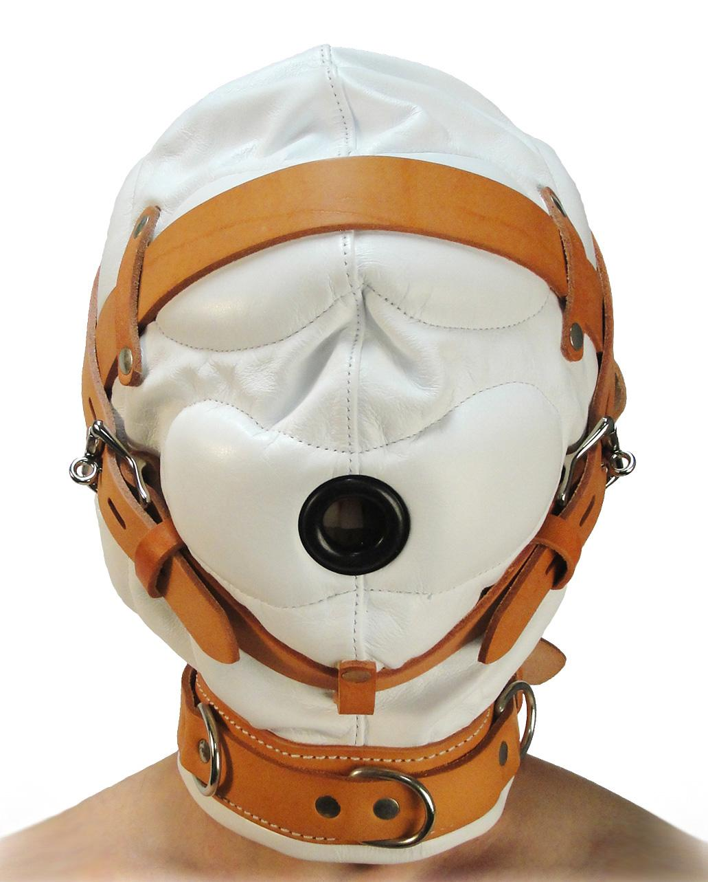 Total Sensory Deprivation White Leather Hood