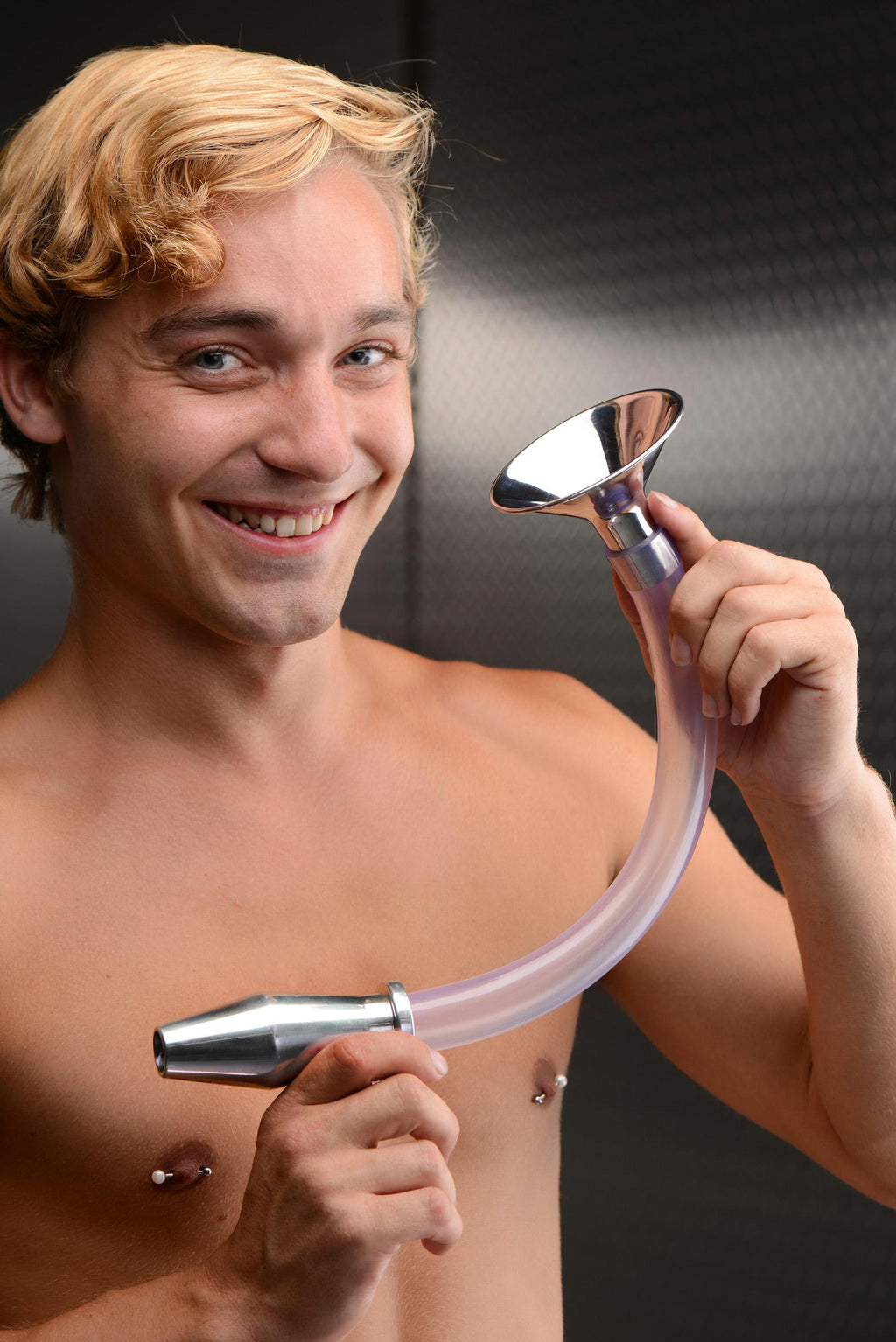 Stainless Steel Ass Funnel with Hollow Anal Plug