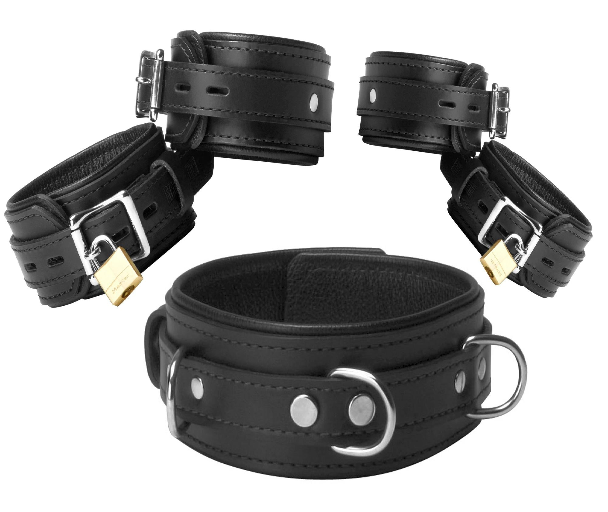 Black Premium Leather Bondage Essentials Kit