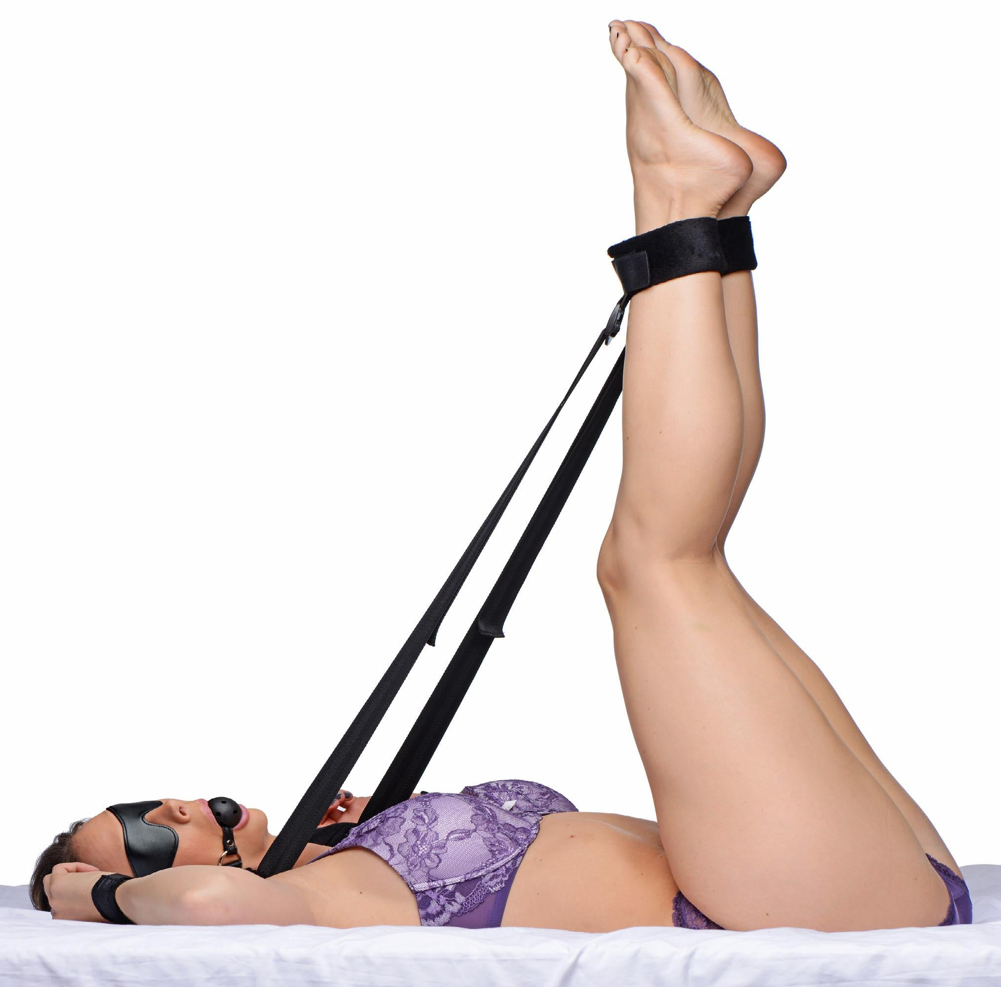 Leg Strap Positioning Kit with Blindfold and Ball Gag