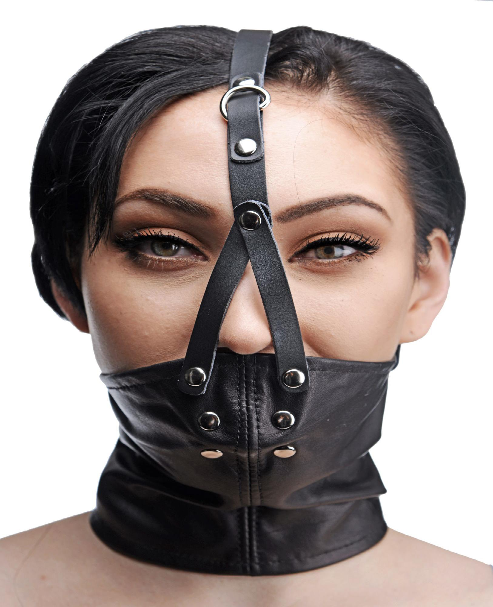 Leather Neck Corset Harness with Stuffer Gag