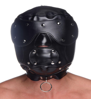 Muzzled Universal BDSM Hood with Removable Muzzle