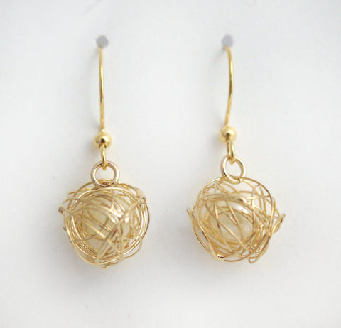 #MM18- Pearl in Nest Drop Earrings- Gold
