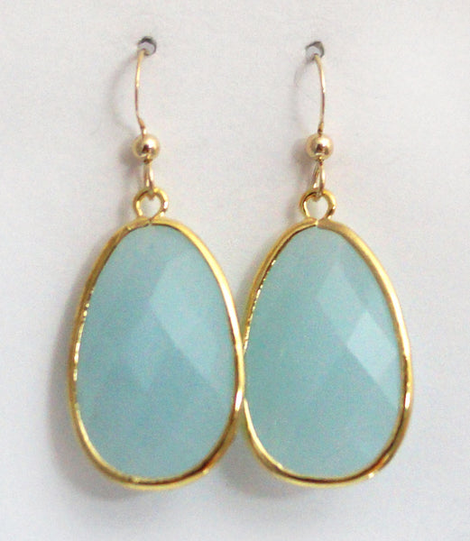 #AAFTXL15G- Bold Framed Teadrops- Air Blue Gold