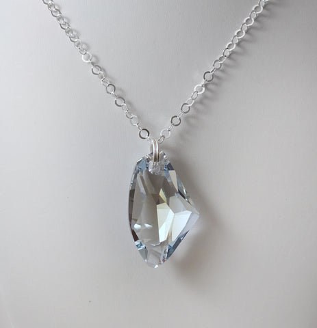 #ACRN11- Bold Crystal Long Necklace- Blue Shade Clear