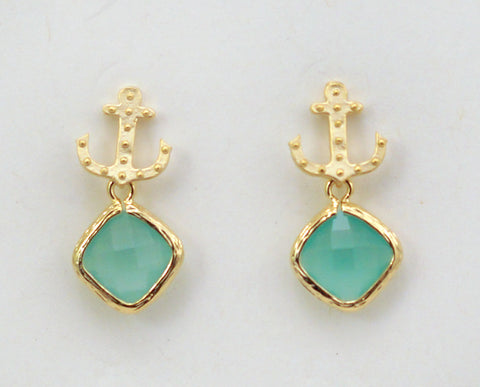 #SD42- Anchor Drop Studs- Mint Gold