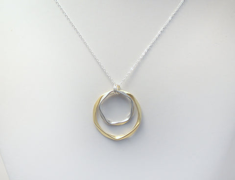 #N-MM21GS- Bold Hammered Ring Necklace- Gold Silver