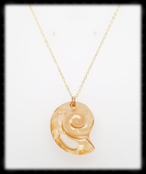 #CRN03- Crystal Shell Necklace- Golden Shadow