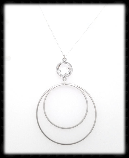#MCH5N- Framed Glass Ring Drop Necklace- Clear Silver