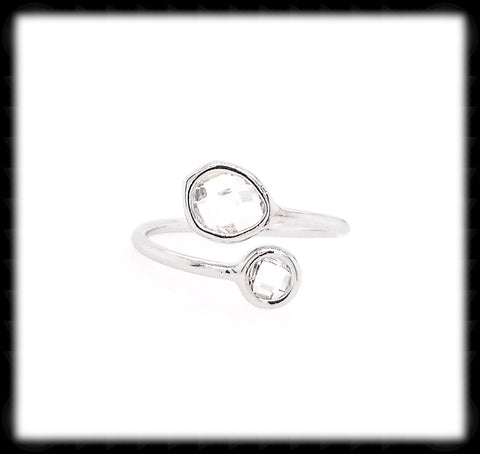 #RFT11- Framed Glass Adjustable Ring- Clear Silver