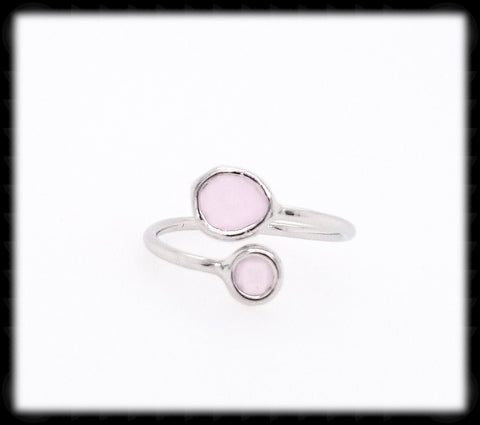 #RFT12- Framed Glass Adjustable Ring- Ice Pink Silver