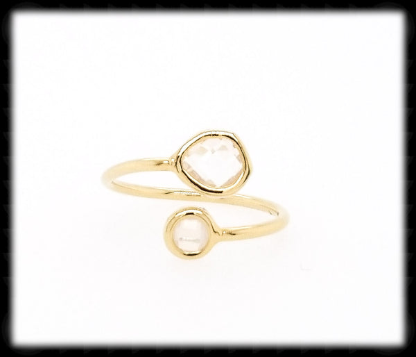 #RFT11G- Framed Glass Adjustable Ring- Clear Gold
