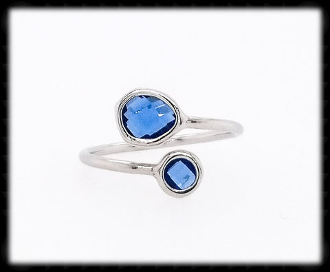 #RFT2- Framed Glass Adjustable Ring- Blue Silver