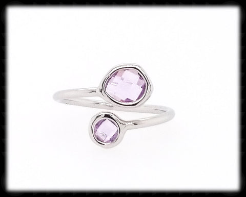 #RFT13- Framed Glass Adjustable Ring- Lavender Silver