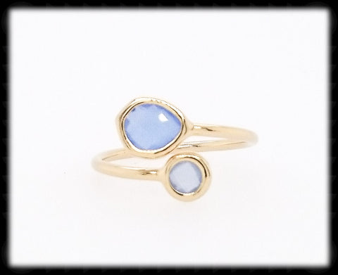 #RFT19G- Framed Glass Adjustable Ring- Royal Opal Gold
