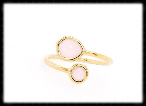 #RFT12G- Framed Glass Adjustable Ring- Ice Pink Gold