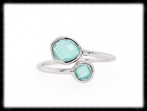 #RFT1- Framed Glass Adjustable Ring- Mint Silver