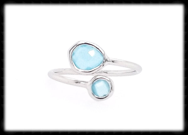 #RFT17- Framed Glass Adjustable Ring- Ocean Silver