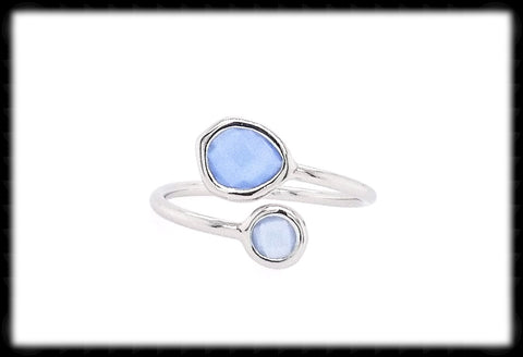 #RFT19- Framed Glass Adjustable Ring- Royal Opal Silver
