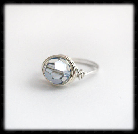 #R6- Sterling Wire Wrapped Ring- Blue Shade