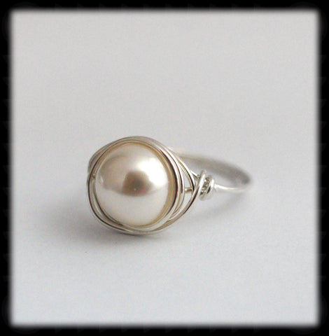#R1- Sterling Wire Wrapped Ring- White Pearl