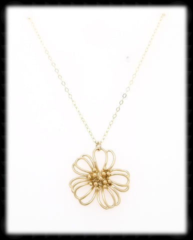 #MM49992N- Flower Wire Necklace- Gold