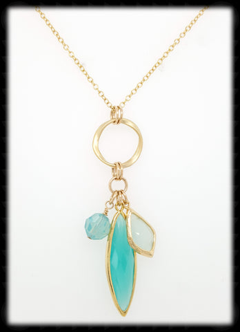#AANMC51- Chain Maille Drop Necklace- Mint Air Blue Gold