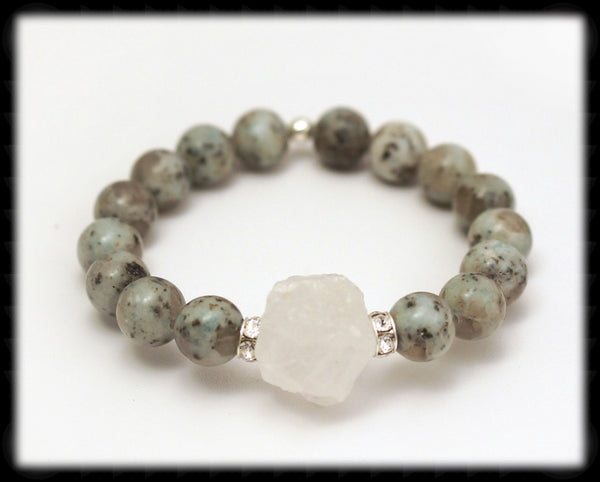 #JGB87- Sparkling Quartz Gemstone Stretch- Jasper
