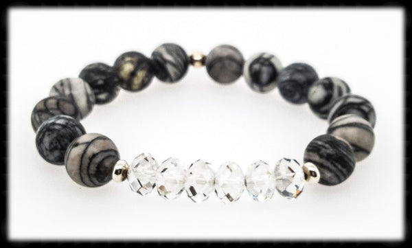 #JGB69- Gemstone Crystal Stretch- Silkstone Silver Shade