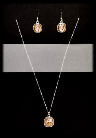 #CD5SET- Eclipse Drop Necklace and Earring- Vintage Rose Silver