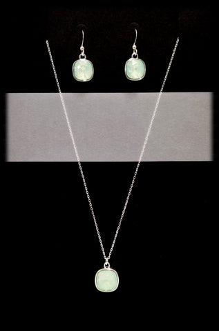 #CD16SET- Eclipse Drop Necklace and Earring- Chrysolite Opal Silver