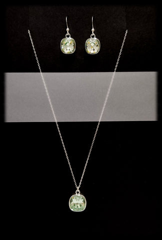 #CD40SET- Eclipse Drop Necklace and Earring- Chrysolite Silver