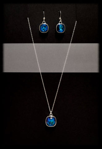 #CD38SET- Eclipse Drop Necklace and Earring- Bermuda Blue Silver