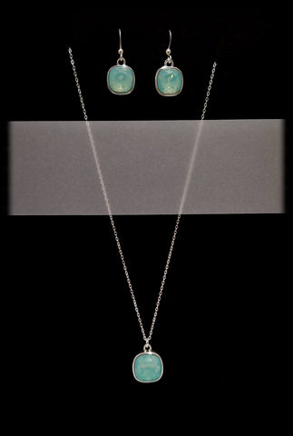 #CD13SET- Eclipse Drop Necklace and Earring- Pacific Opal Silver