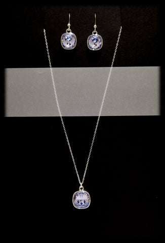 #CD39SET- Eclipse Drop Necklace and Earring- Lavender Silver