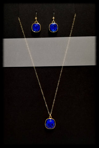 #CD47GSET- Eclipse Drop Necklace and Earring- Sapphire Gold