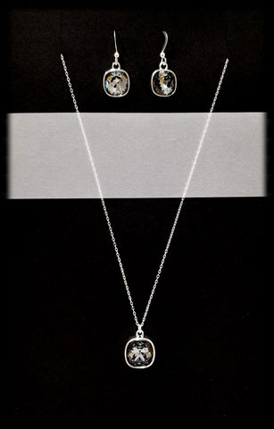 #CD43SET- Eclipse Drop Necklace and Earring- Greige Silver