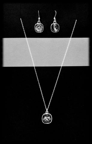 #CD34SET- Eclipse Drop Necklace and Earring- Silver Night Silver