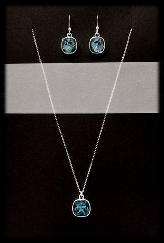 #CD31SET- Eclipse Drop Necklace and Earring- Denim Silver