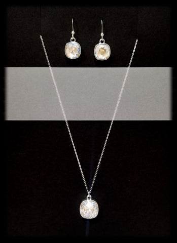 #CD25SET- Eclipse Drop Necklace and Earring- Moonlight Silver
