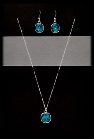 #CD2SET- Eclipse Drop Necklace and Earring- Indicolite Silver