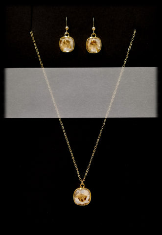 #CD61GSET- Eclipse Drop Necklace and Earring- Golden Shadow Gold